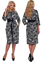 Трикотажное платье с кожаными вставками и поясом рукав 3-4 Кэтлин р. 52-58