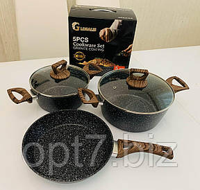 Набор посуды 5 предметов GLOBALIS с мраморным покрытием (кастрюля 3 и 4 л, сковорода 24 см+крышки стеклянные)