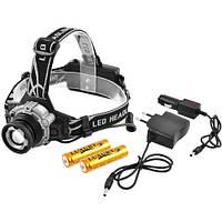 Фонарь налобный Police W002-XPE, ЗУ 220V/12V, 2x18650, датчик движения, zoom
