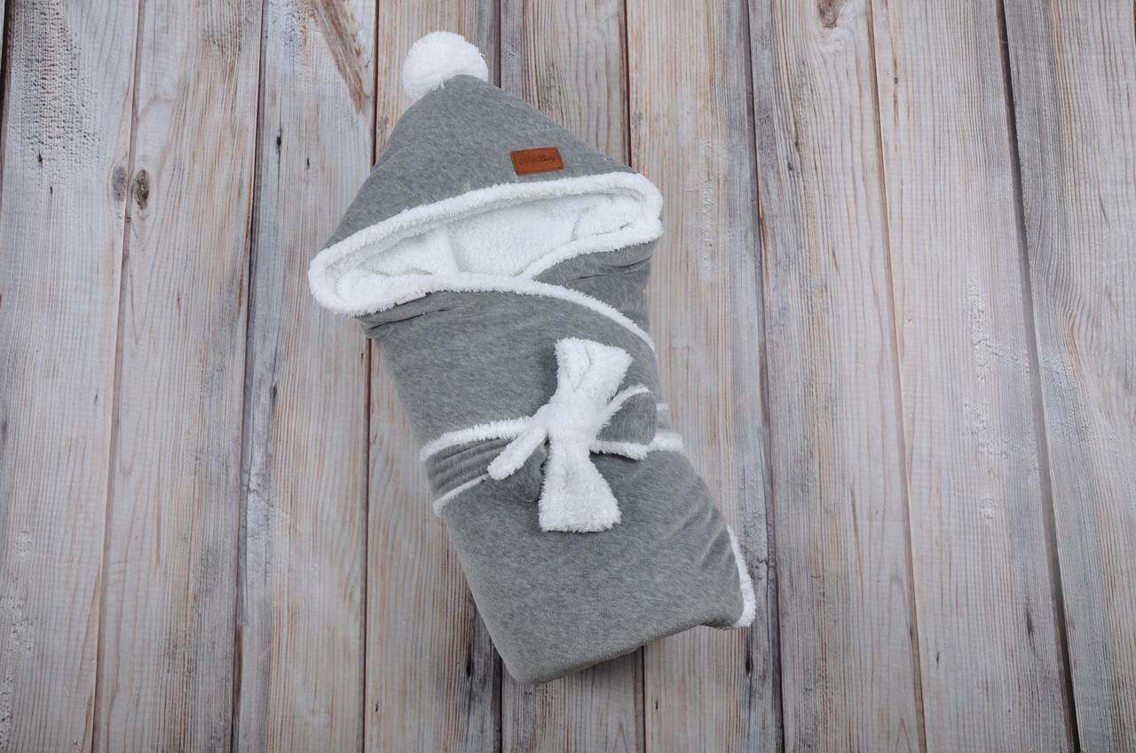 Велюровый конверт-одеяло, на махре, темно серый меланж