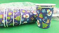 "Стакан для напитков 175мл  Снеговик на синем"" Маэстро (50 шт), фото 1"