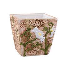 Кашпо керамическое 10х10х10 см светло-терракотовое с белыми ромашками (41007.001)