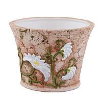 Кашпо керамическое овал 8 см светло-терракотовое с белыми ромашками (41007.002)