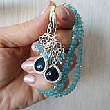 """Комплект серебряный: серьги и браслет """"Голубой топаз и фианит"""", фото 6"""