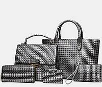 Набор женских сумок 5в1 из экокожи, серый, фото 1