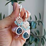"""Комплект серебряный: серьги и браслет """"Голубой топаз и фианит"""", фото 5"""