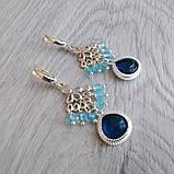 """Комплект серебряный: серьги и браслет """"Голубой топаз и фианит"""", фото 4"""