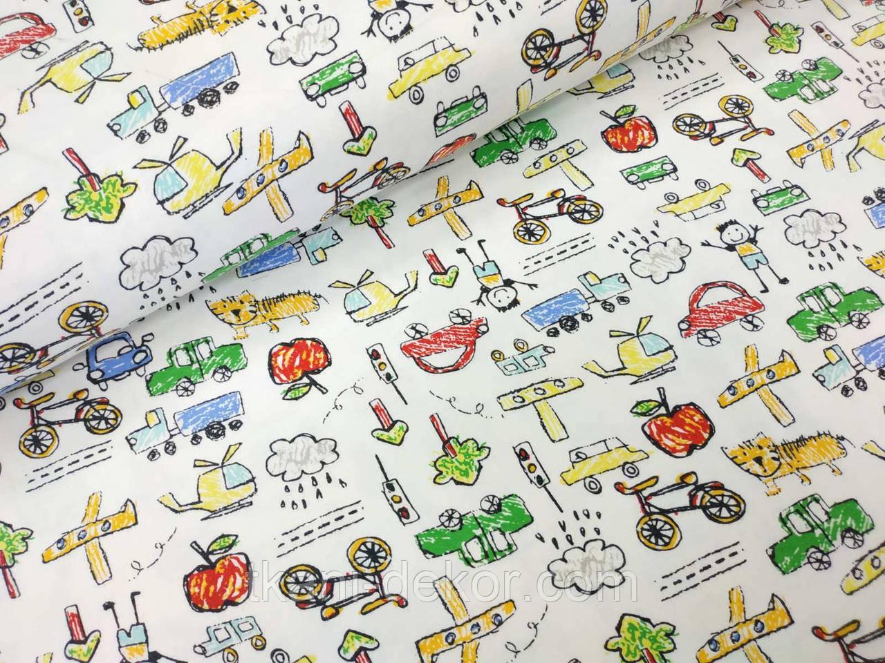 Трикотаж детский (хлопковая ткань) авто,деревья,люди и звери однотон
