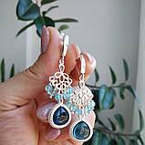 """Комплект серебряный: серьги и браслет """"Голубой топаз и фианит"""", фото 3"""
