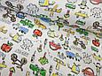 Трикотаж детский (хлопковая ткань) авто,деревья,люди и звери однотон, фото 2
