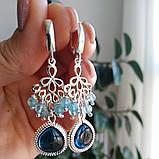 """Комплект серебряный: серьги и браслет """"Голубой топаз и фианит"""", фото 2"""
