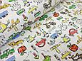 Трикотаж детский (хлопковая ткань) авто,деревья,люди и звери однотон, фото 3