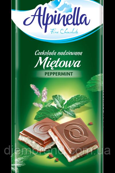 """Шоколад """"Alpinella Peppermint"""" ( Альпинелла с мятной начинкой), Польша, 100г"""