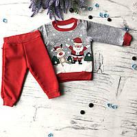 Теплый костюм новогодний на мальчика 3. Размер 68 см, 74 см, 86 см