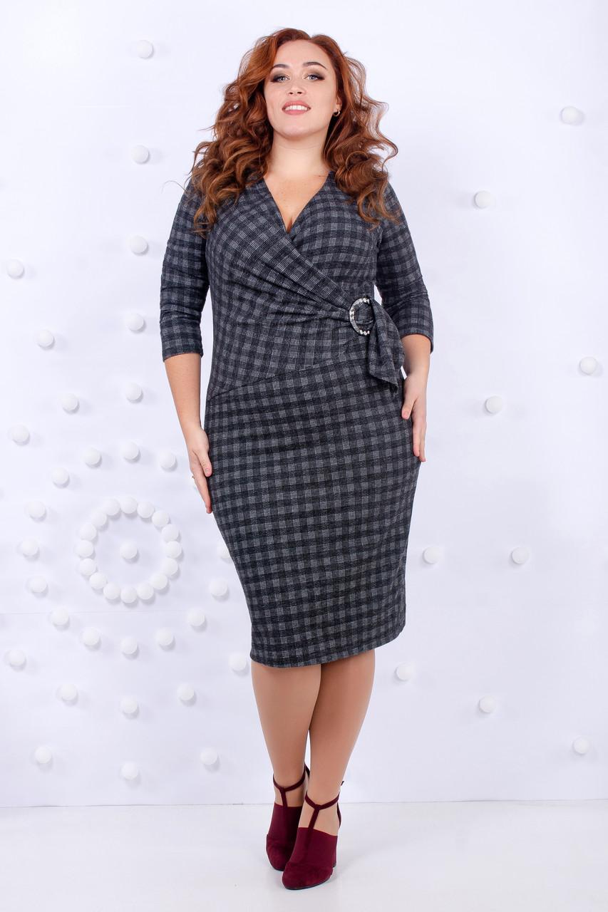 Стильное теплое офисное платье 46-52 р