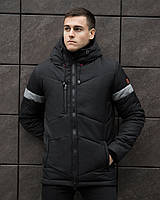Мужская зимняя куртка 'Vernyy put' ' (черная с серой вставкой)