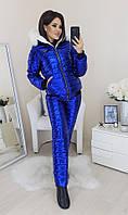 Женский стильный теплый лыжный костюм на меху с капюшоном