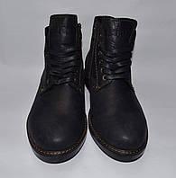 Falcon Мужские зимние кожаные (Сарагоса) ботинки Черные Прошитые
