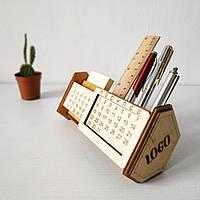 Календарь органайзер вечный деревянный из фанеры подарок именной настольный с логотипом с пожеланиями