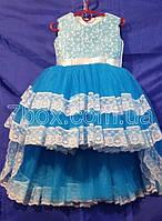 Детское платье бальное Канкан 3-4 года Голубое Опт и Розница