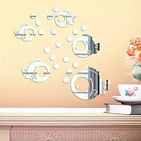 """Акриловые наклейка в ванную, на стены """"зеркальные круглые рыбки 5шт набор"""""""