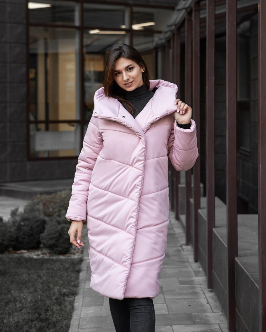 Куртка женская Pobedov зимняя стильная яркая длинная парка в розором цвете