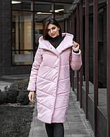 Куртка женская Pobedov зимняя стильная яркая длинная парка в розором цвете, фото 1