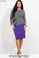 Костюм: контрастная блуза с круглым вырезом, рукавами 7/8 и декором из репсовой ленты и однотонной юбкой в классическом стиле сзади на молнии X12130