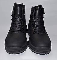Falcon Мужские зимние кожаные (Сарагоса) ботинки Черные Прошитые на шнурке