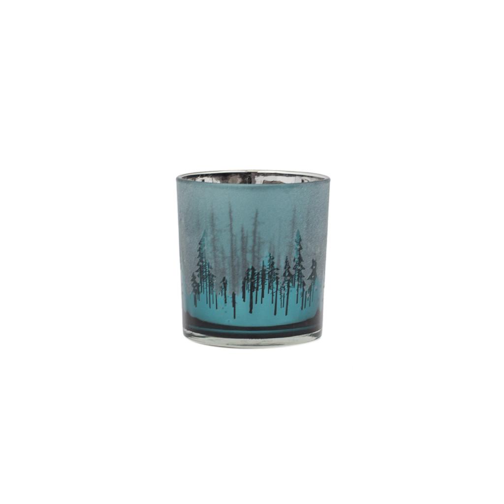 Подсвечник стекло изумрудный Ель 8 см 109337