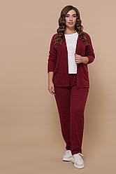 Женский теплый бордовый костюм с поясом ангора большие размеры