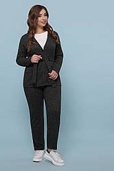 Женский теплый черный костюм штаны и кофта с поясом ангора