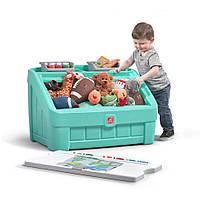 """2 в 1: комод для игрушек и поверхность для творчества """"BOX & ART"""", 48х78х48 см, мятный"""