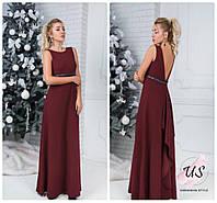 Красивое однотонное вечернее платье в пол с открытой спиной. 2 цвета!