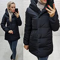 Куртка одеяло Oversize укороченная, артикул 1005, цвет чёрный