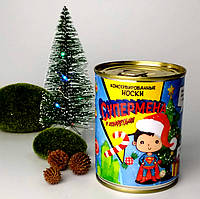 Консервированные Носки Супермена с конфетой - Оригинальный Недорогой Подарок - Новогодний Подарок