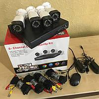 Комплект видеонаблюдения DVR регистратор 4-канальный и 4 камеры UKC проводной набор DVR KIT CAD D001 2mp\4ch