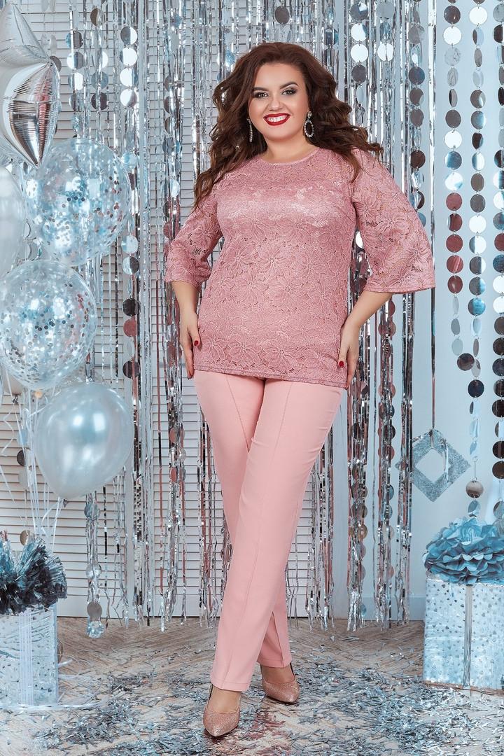 """Брючный женский костюм-двойка """"Пальмира"""" с гипюровой блузой (большие размеры)"""