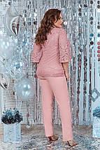 """Брючный женский костюм-двойка """"Пальмира"""" с гипюровой блузой (большие размеры), фото 3"""