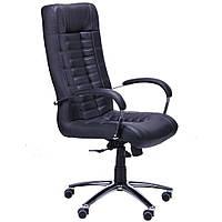Кресло Парис Хром Кожа Люкс комбинированная Черная