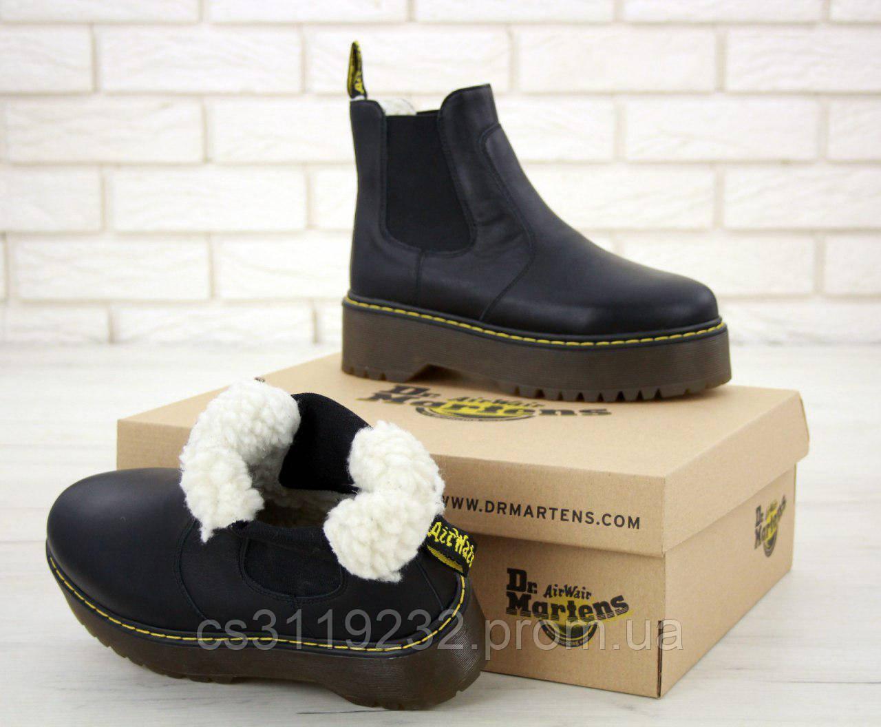 Жіночі черевики зимові Dr.Martens Chelsea (хутро) (чорний)