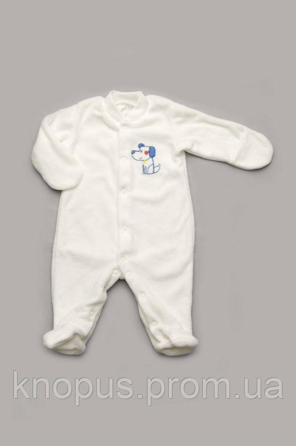 Велюровый комбинезон для новорожденного, белый, Модный карапуз, размер 56