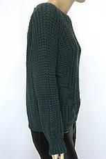 Жіночий в'язаний светр смарагдового кольору, фото 2