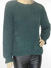 Жіночий в'язаний светр смарагдового кольору, фото 3