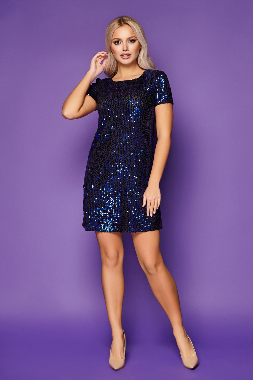 Коктейльное блестящее платье мини с пайетками Ираида к/р черный-электрик