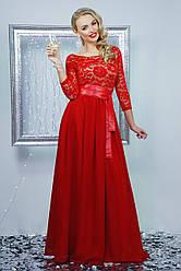 Вечернее длинное красное платье с кружевом и шифоновой юбкой под пояс Марианна д/р
