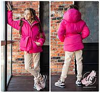 Детская  теплая куртка-пуховик для девочки с капюшоном. Цвета!