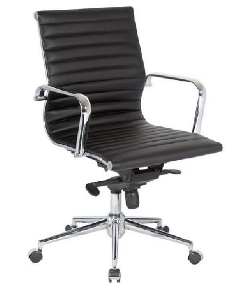 Кресло офисное Алабама M NEW, средняя спинка, хром, цвет черный (Бесплатная доставка)