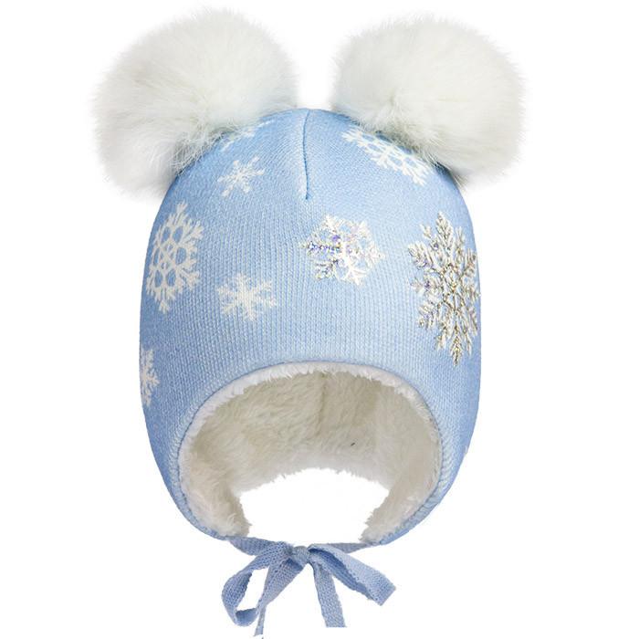 Зимняя шапка с двумя помпонами р-р 46,48