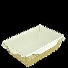 Салатник с прозр. пласт. крышкой Крафт/Белый 165*120*45мм 500мл 50шт/уп